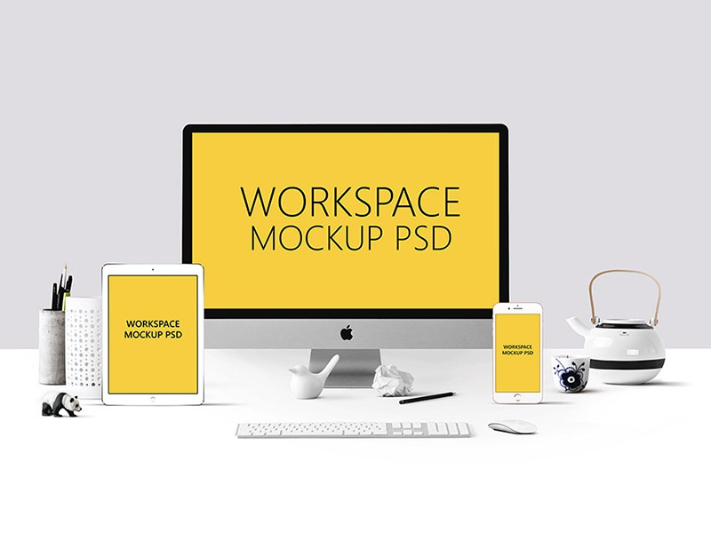 Workspace Mockup PSD free freebies freebie download iphone 7 plus ipad pro imac clean desk psd mockup workspace