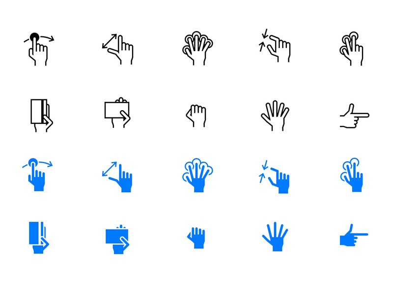 Free iOS Tab Bar Hand Gesture Icons vectors freebies freebie free mobile icons gestures icons hand gestures tab bar icons ios icons