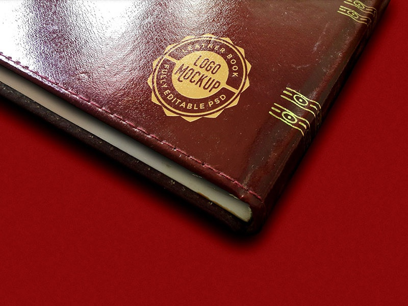 Vintage Leather Book Logo Mockup mockup template book templates psd download freebies freebie free logo logos vintage vintage logos