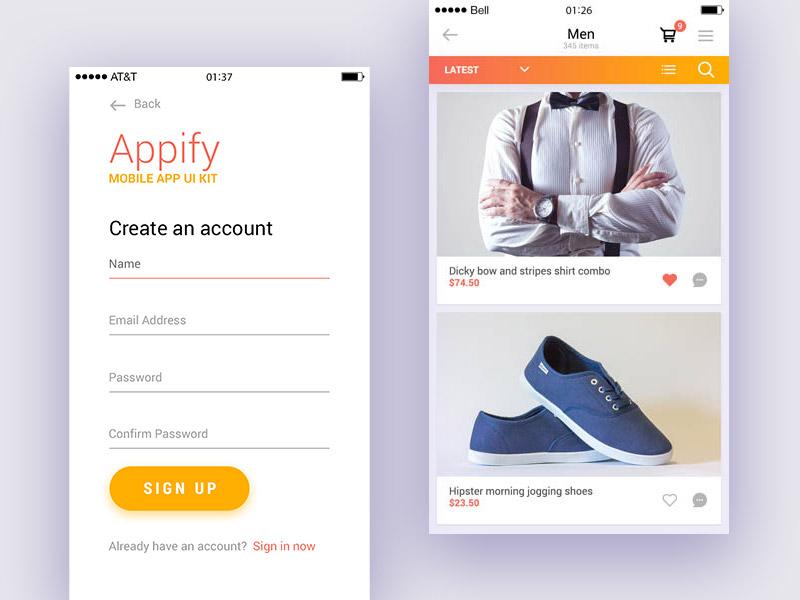 Appify mobile app ui kit part 1