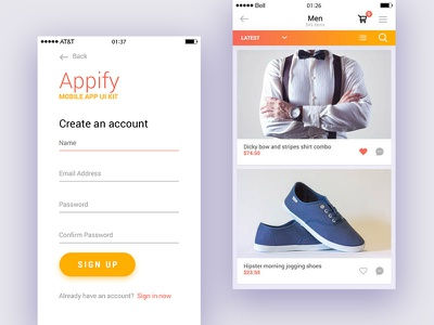 Appify: Free Mobile App UI Kit Vol.1 free psd files psd templates download psd freebies free freebie kits ui free ui kit app ui kit