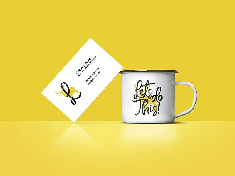 Download Business Card on Coffee Cup Mockup