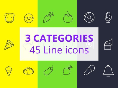 45 Free Icons food icons vegetables line icons music icons freebie download vector free apps icons