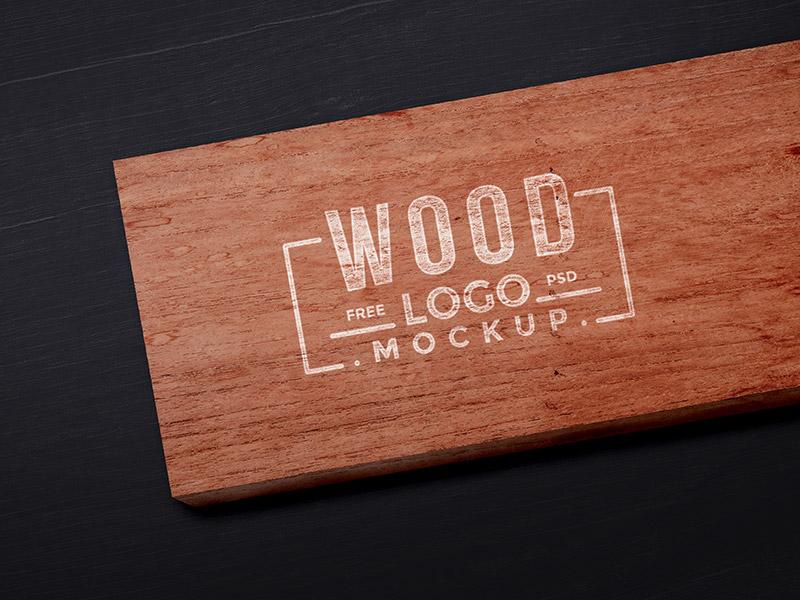 Wood Logo Mockup PSD