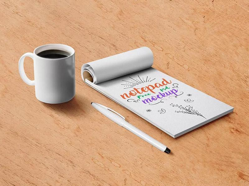Free Notepad Mockup PSD freebies freebie free notepaper coffee cup download psd free psd free psd files psd mockup notepad mockup