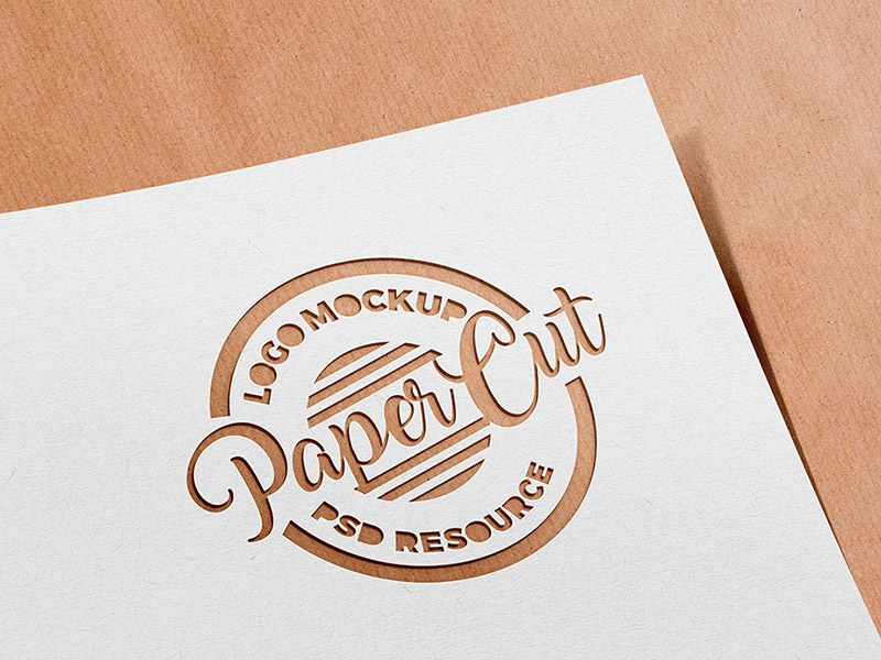 Paper Cutout Logo Mockup graphics templates freebies freebie free psd paper cut logo mockup logo