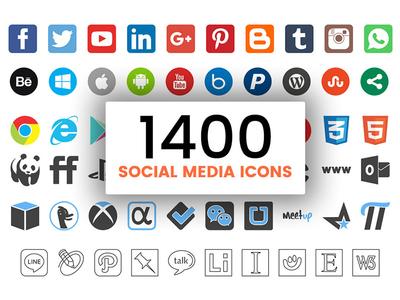FREE: 1400 Social Media Icons