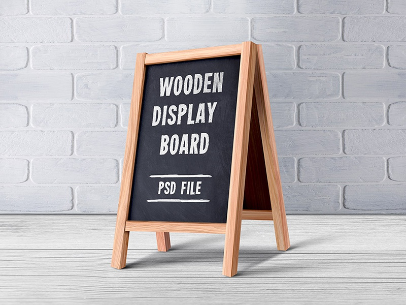 Wooden Menu Display Board PSD