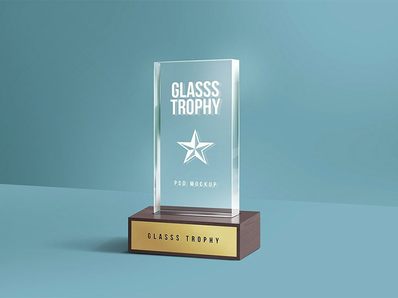 glass trophy psd mockup by graphicsfuel rafi dribbble