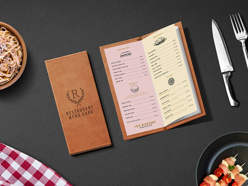 Restaurant menu card psd mockup by graphicsfuel rafi