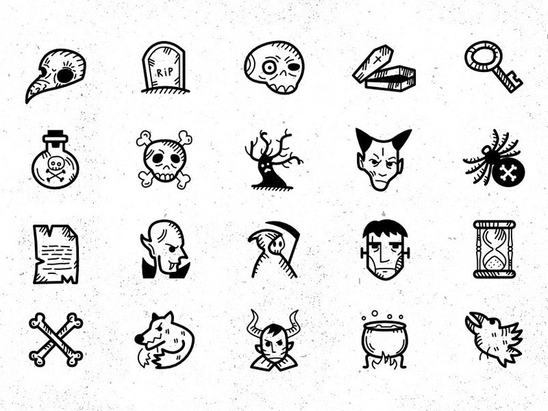 Halloween Handdrawn Icon Set svg icons download freebies freebie free vector icon pack icons halloween