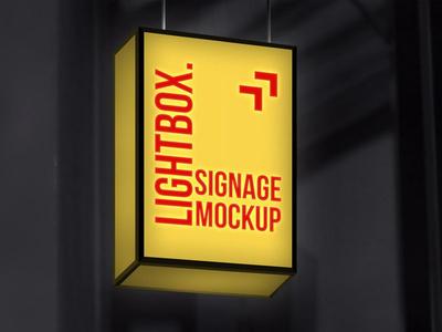 Hanging Lightbox Signage Mockup mockup download psd free psd free freebies free templates free mockup sign mockup lightbox sign signage mockup