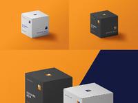 Square packaging box psd mockups