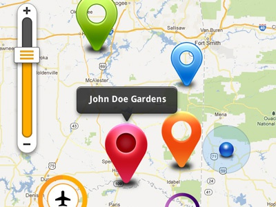 Map UI Kit location map ui kit map gui mobile phone ui kit markers pointers gps navigation slider psd file free download