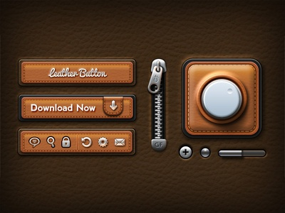Leather UI Elements ui elements mobile ui free psd files buttons icons leather psd download