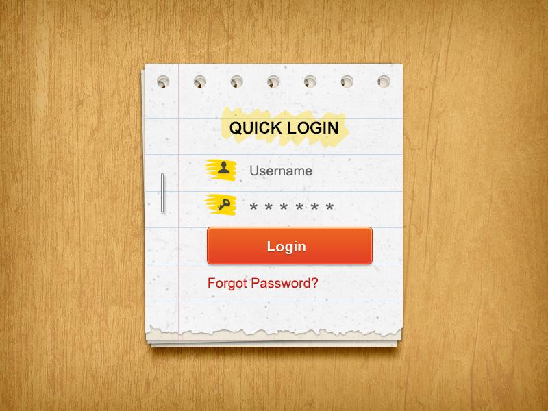 Paper Login Form login form paper effect ui element download psd freebie sign form