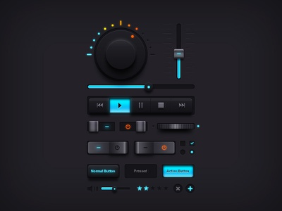 Dark Music UI Elements  music ui elements ui psd freebie psd download volume knob wheel buttons switches sliders equalizer
