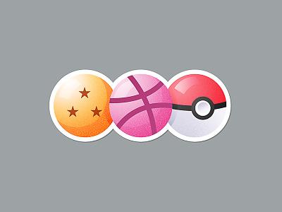Favourite Balls dragon ball z dragon ball balls nostalgia illustration sticker pokeball