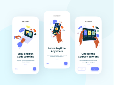Onboarding Course App Exploration vector branding clean app course minimalist elegant flat illustration colorful onboarding mobile ux ui