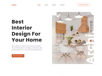 Archi - Interior Design Landing Page Exploration decoration homeliving architecture property clean elegant branding logbook minimalist flat ui  ux design interior