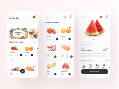 Grocery and Food Order App Exploration order food vegetables fruit android ios mobile application grocery ui ux minimalist clean app colorful flat elegant