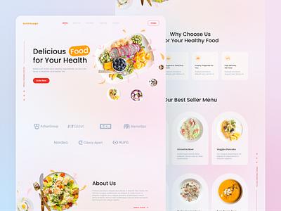 Kukika - Food Catering Landing Page Exploration design illustration ux ui minimalist clean flat elegant glassmorphism colorful catering food landing page