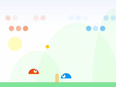 Neural Slime Volleyball artificial intelligence neural network game vector flat