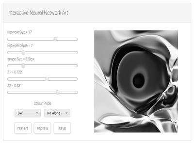 Interactive Neural Network Art Generator bootstrap web app generative javascript