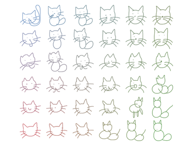 machine generated cats polyline cats machine learning neural network ai