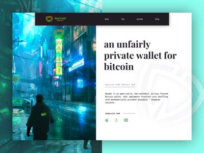 Wasabi Bitcoin Wallet - Website Hero UI
