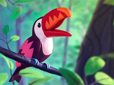 Toucan clay bird illustration jungle rainforest tropical bird illustration digital art toucan