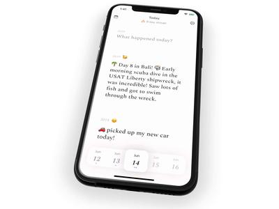Diem - Daily journal ui app ios iphone journal