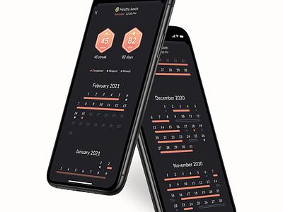 Carpe - Habit Tracking Insights dark mode swiftui app calendar dataviz ui design habit
