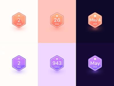 Carpe & Diem Badges iphone ios app acomplishment share streak achievement badge