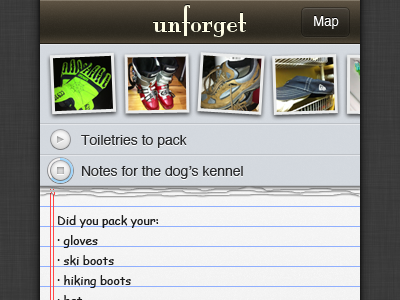 unforget - main screen unforget ios app iphone location coaches loupe