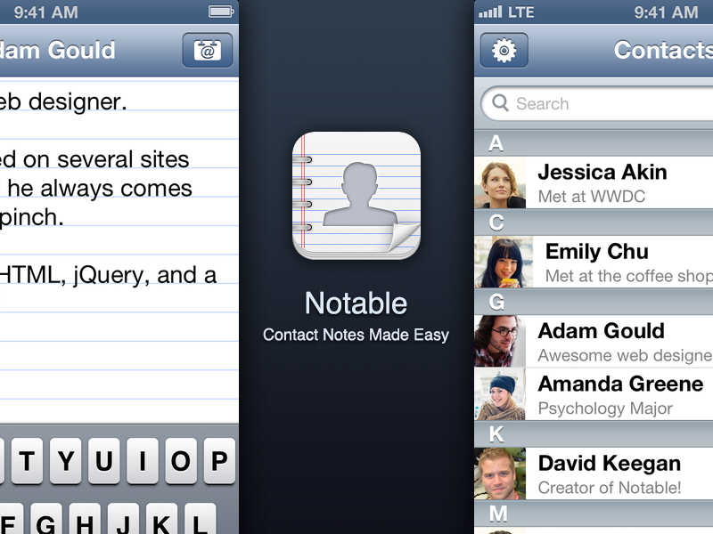 Notable - Contact Notes Made Easy contacts address book iphone ipad notable app icon tableview
