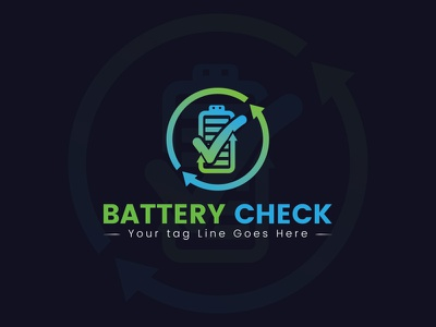 Battery Check Logo Design logo icon design app ui ux web vector illustration typography branding logo design process logo design concept logo design battery  logo battery