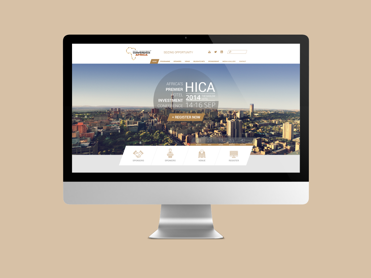HICA Website event conference icons gold african navigation ui uiux corporate website