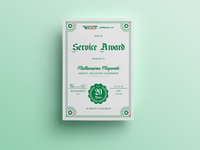 MDS Collivery Service Award Certificate