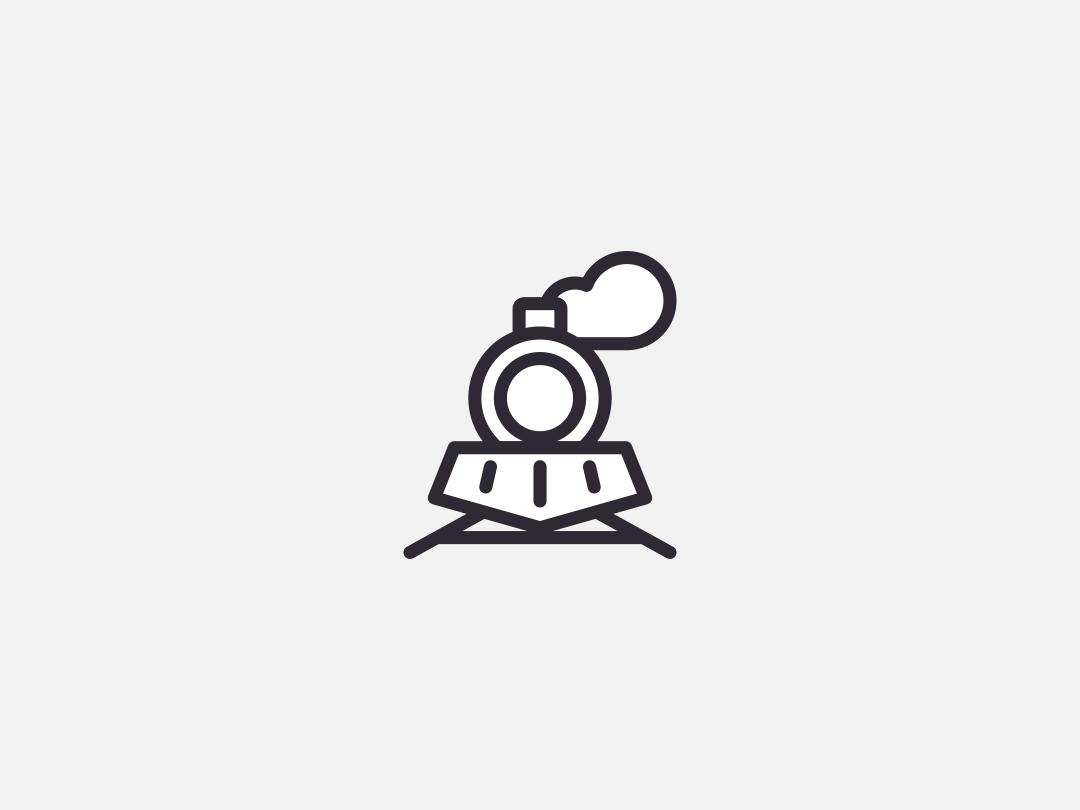 Lokomotion Logo Symbol symbol steam train icon lineart line linear train design logo illustration vector