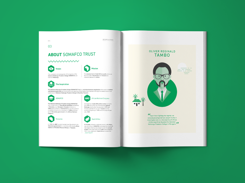 SOMAFCO Prelaunch Report - About o.r. tambo corporate illustration icons vector south africa information zigzag pattern green african report magazine book brochure print design layout print