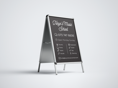 Taryn's Music School Sign speechbubble clock email dancing tap guitar keyboard microphone violin piano drum advertising music black and white blackandwhite white black signage sign a-frame