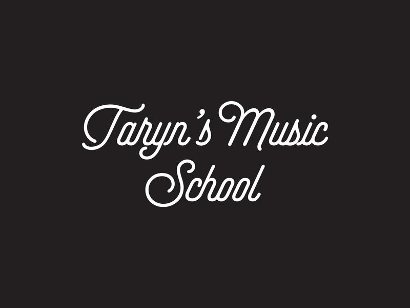 Taryn's Music School Logo line linear monoweight monoline font type typeface friendly fun studio notes black and white blackandwhite school music selfie logotype logo design logodesign logo