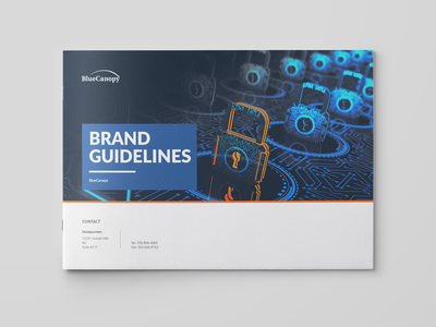 BlueCanopy Brand Guidelines Book pantone rgb cmyk swatches colors fonts typogaphy rules brand and identity orange blue book branding corporate identity brand guidelines brand identity