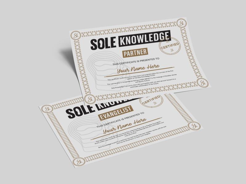Sole Knowledge Certificate course sneakers sneaker awards award shoelace shoe black gold certified certificate knowledge