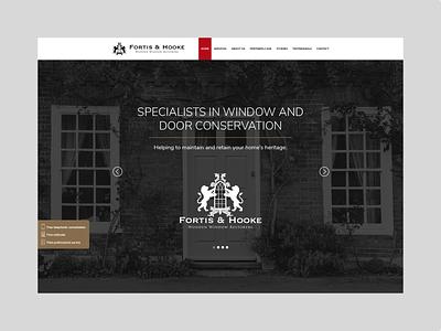 Fortis & Hooke Website wooden restoration doors windows red custom icon set iconset icons black gold uiuxdesign ui design uidesign uiux ui web design webdesign website web