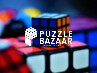Puzzle Logo Design rubics cube shop logo online shop shop market puzzle b design p design ui logo illustration graphic design flat design branding app