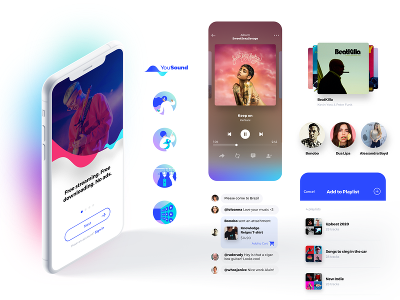 YouSound › Listener Experience illustration music design uiux app interface ux ui