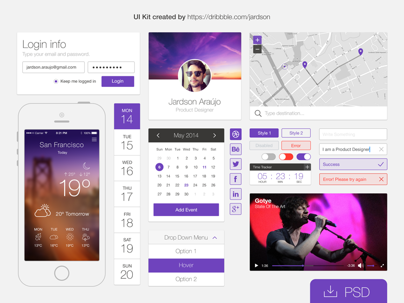 Free PSD: Flat UI kit ui kit psd download free app flat icon ui ux product widget weather