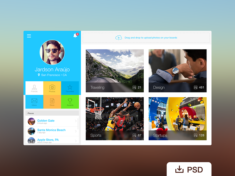 Free PSD: Webapp Profile free psd dashboard app design flat icon ui ux product web freebie